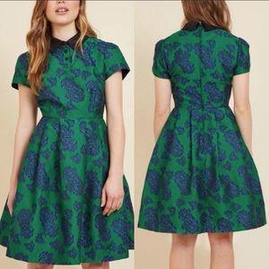 ModCloth Green/Blue Floral Uniqueness Retro Dress